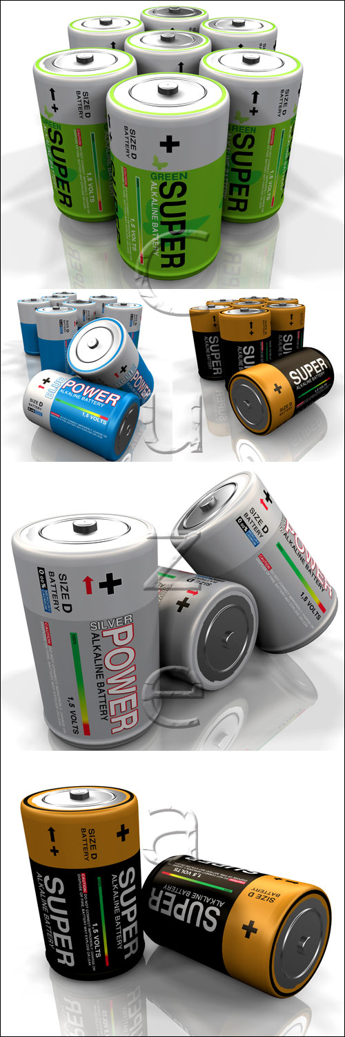Battery on white backgrounds - stock photo